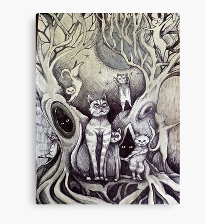 they danced under the light of the moon cat art Canvas Print