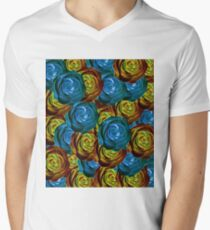 closeup rose pattern texture abstract in blue red and yellow T-Shirt