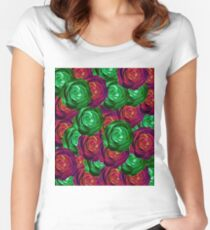 closeup rose pattern texture abstract background in red and green Women's Fitted Scoop T-Shirt