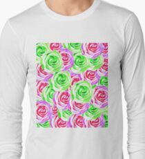 closeup rose pattern texture abstract background in pink red green T-Shirt