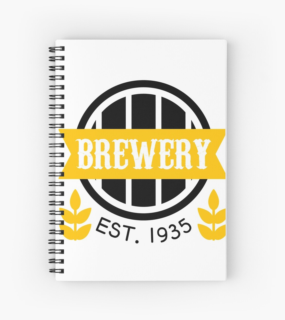 brewery logo design template spiral notebooks by topvectors redbubble