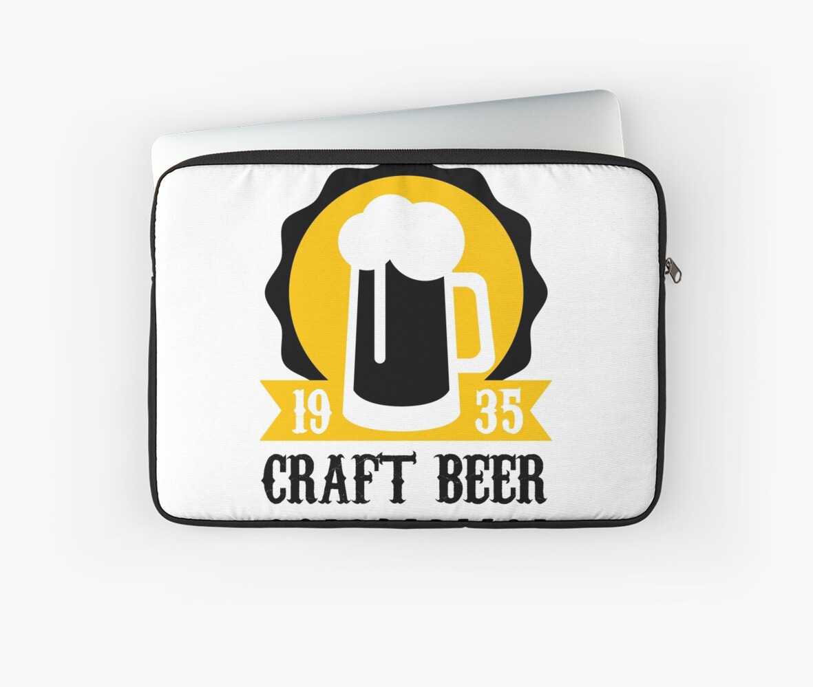 Craft Beer Logo Design Template With Pint Laptop Sleeves By