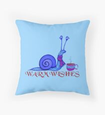 Blue Snail's Warm Wishes Throw Pillow