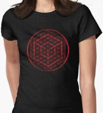 Tesseract & Flower of Life  Womens Fitted T-Shirt