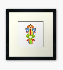 Colorful Friendly Clown Balancing On Ball In Classic Outfit Framed Print