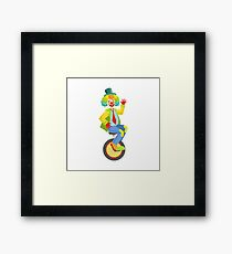 Colorful Friendly Clown With Rainbow Wig In Classic Outfit Framed Print