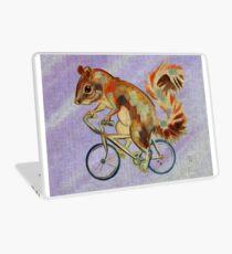 Squirrel On Bike (purple background) Laptop Skin