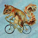 Squirrel On Bike (blue background) by Ellen Marcus