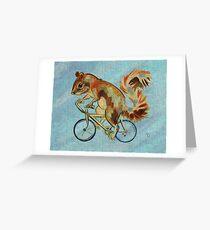 Squirrel On Bike (blue background) Greeting Card