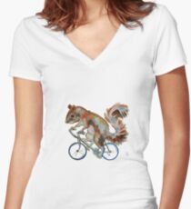 Squirrel On Bike Pick your own Background Women's Fitted V-Neck T-Shirt
