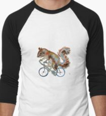 Squirrel On Bike Pick your own Background Men's Baseball ¾ T-Shirt