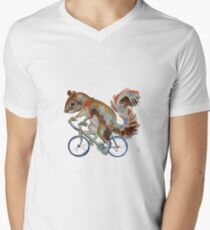 Squirrel On Bike Pick your own Background Men's V-Neck T-Shirt