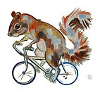 Squirrel On Bike Pick your own Background by Ellen Marcus