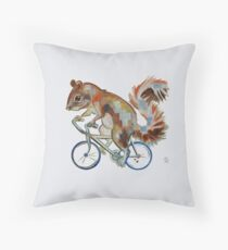 Squirrel On Bike Pick your own Background Floor Pillow