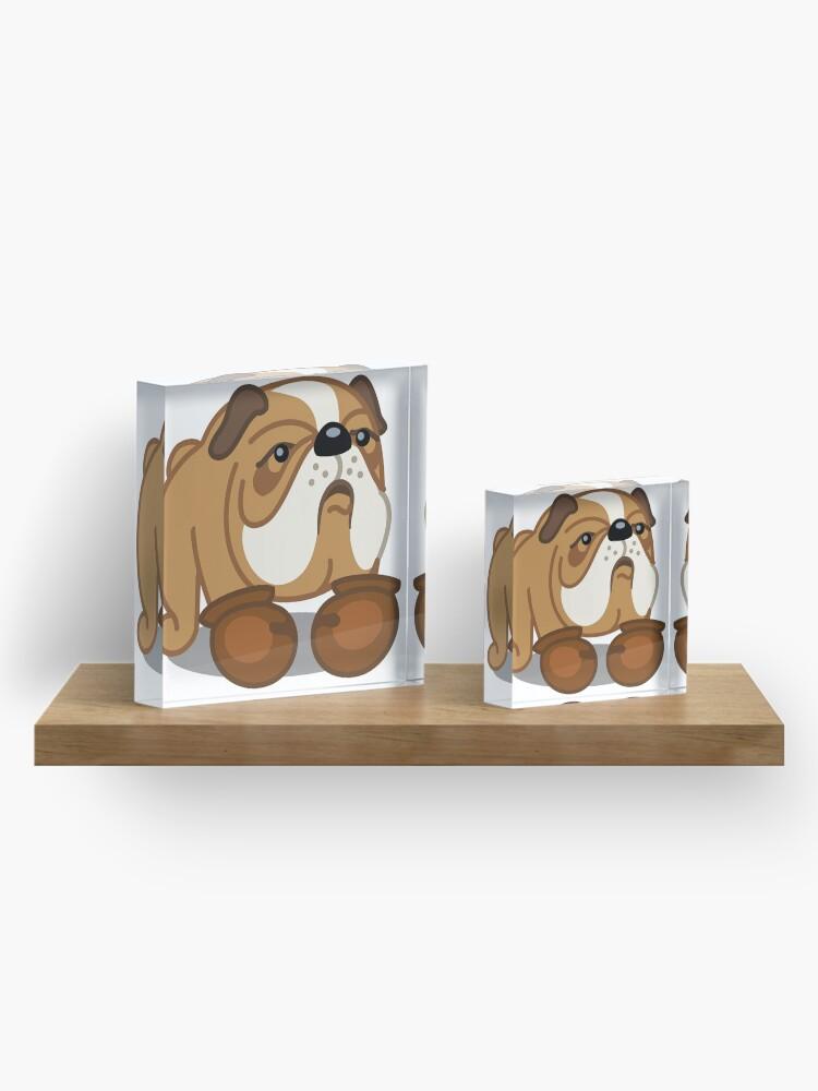 Alternate view of Bulldog Boxer tshirt - Dog Gifts for Boxer and Bulldog Pet Lovers Acrylic Block
