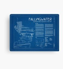 Fallingwater Survey Cover Blueprint - Frank Lloyd Wright Canvas Print