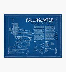 Fallingwater Survey Cover Blueprint - Frank Lloyd Wright Photographic Print
