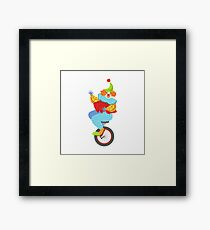 Colorful Friendly Clown Balancing On Unicycle In Classic Outfit Framed Print