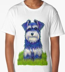 Colorful Miniature Schnauzer Dog Pet Portrait Long T-Shirt