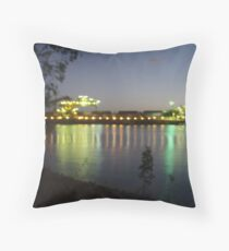 Night ship loading Throw Pillow