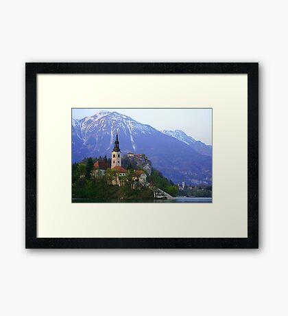 Island Church at Lake Bled, Slovenia Framed Print