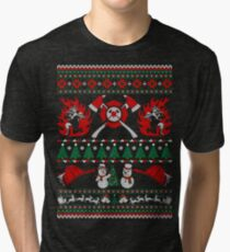 Merry Firefighter Ugly Christmas Sweater Funny Tshirt  Tri-blend T-Shirt