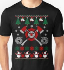 Merry Firefighter Ugly Christmas Sweater Funny Tshirt Unisex T-Shirt