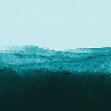 Aqua Watercolor Waves by adventurlings