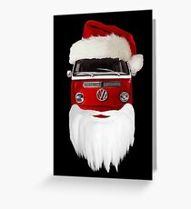VW Santa Claus - black background Greeting Card