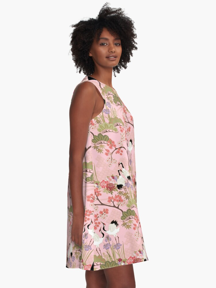Alternate view of Japanese Garden in Pink A-Line Dress