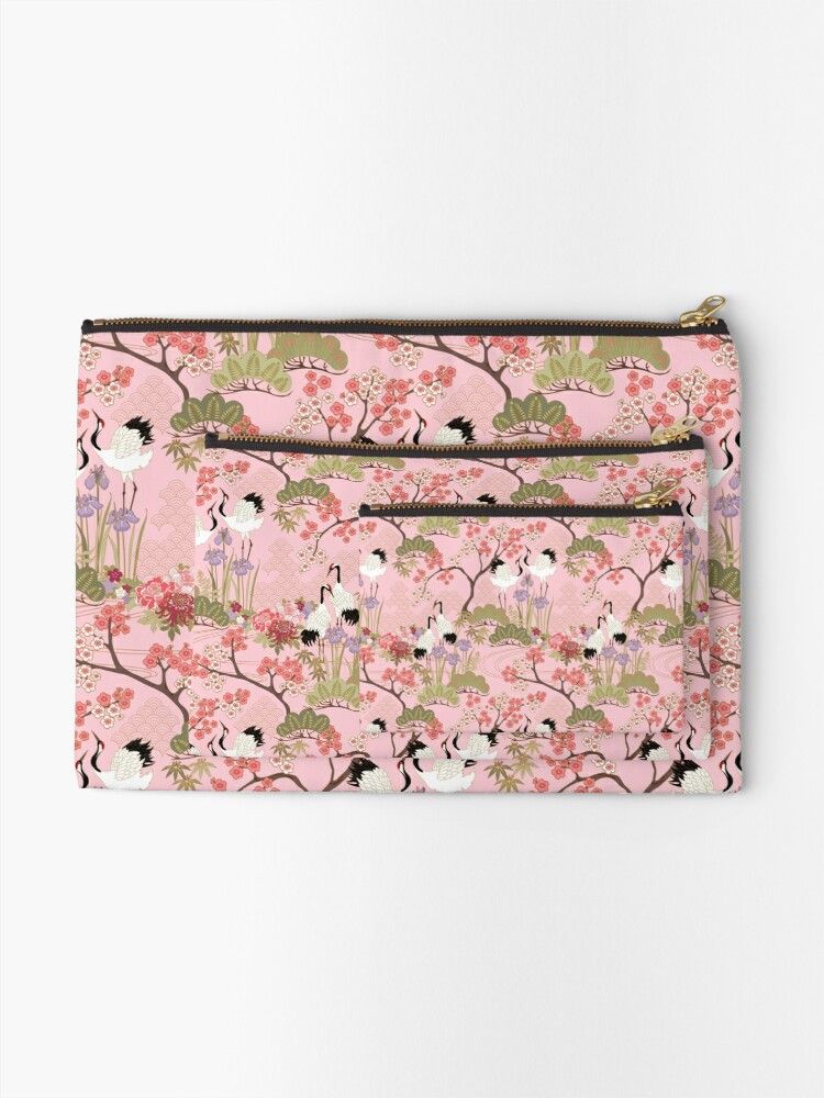 Alternate view of Japanese Garden in Pink Zipper Pouch