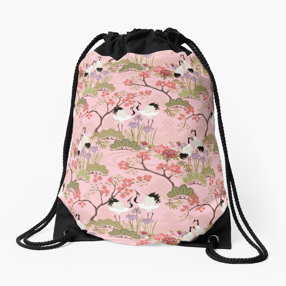 Japanese Garden in Pink Drawstring Bag