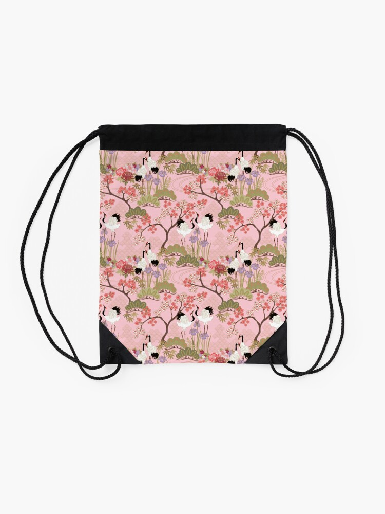 Alternate view of Japanese Garden in Pink Drawstring Bag