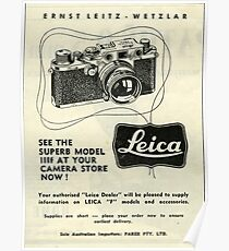 """1950s Leica. The Worlds Finest Picture Taker """"The F""""  Poster"""