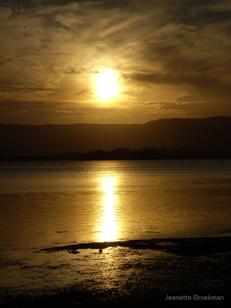 Cloudy Sunset over Water - Lake Illawarra (2) by Jeanette Broekman