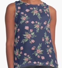 Red Watercolor Flowers Contrast Tank