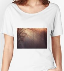 Landscape of winter forest trees and sun rays Women's Relaxed Fit T-Shirt