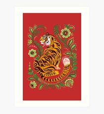 Tiger Volkskunst Kunstdruck