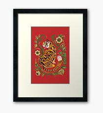 Tiger Folk Art Framed Print