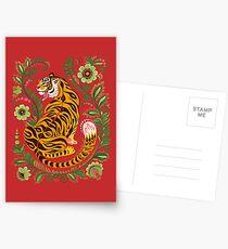 Tiger Volkskunst Postkarten