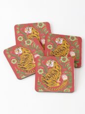 Tiger Folk Art Coasters