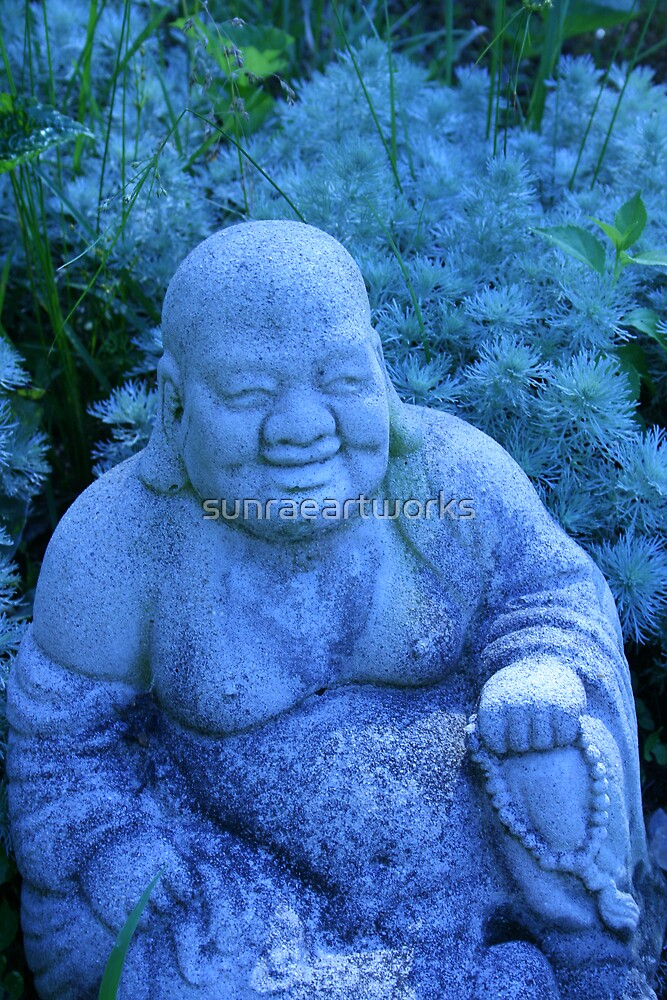 garden buddha in blue by sunraeartworks