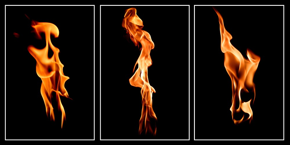 Figures of Fire and Flame I, II & III by Lance Jackson