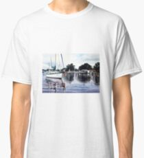 Boats & Reflections Watercolour Painting Classic T-Shirt