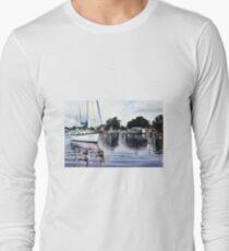 Boats & Reflections Watercolour Painting T-Shirt