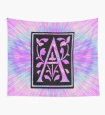 pink letter a initial  Wall Tapestry