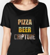 Pizza Beer Chiptune Women's Relaxed Fit T-Shirt