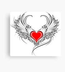 Angel Heart with White Wings Canvas Print