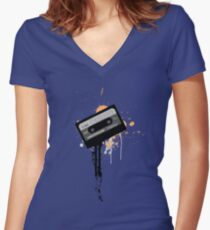 Cassette Radio Tee Orange Women's Fitted V-Neck T-Shirt