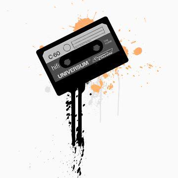 Cassette Radio Tee Orange by electrodystopia